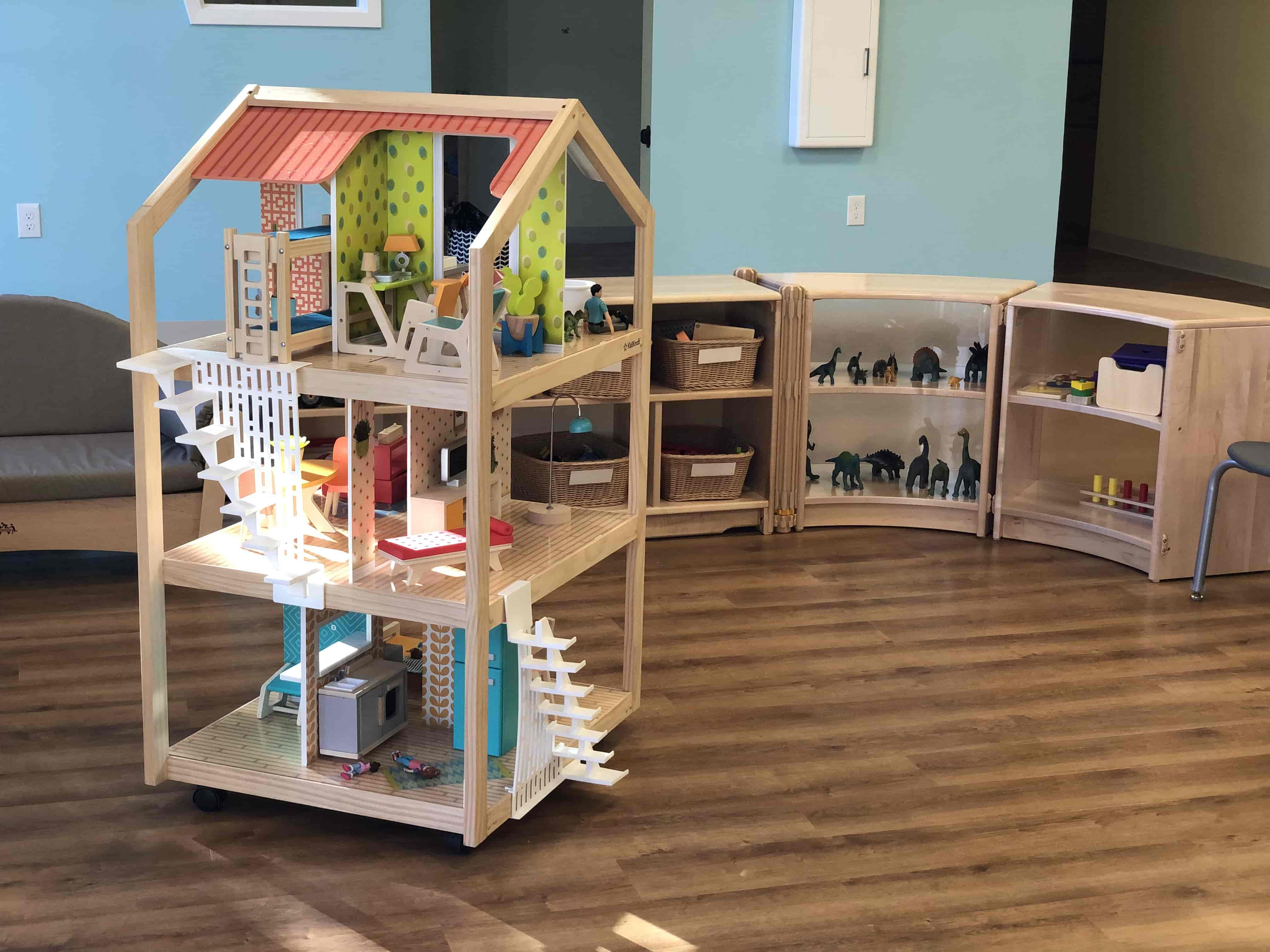 Dollhouse and dinosaurs